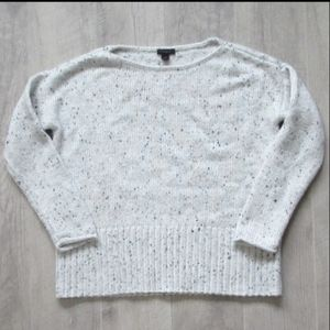 Ann Taylor Factory White Marled Sweater Sz Med